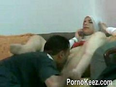 Arab Girl Is Getting Her Pussy Eaten In Her Office Before Fucking