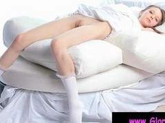 Teen Babe Gloria Fingering Her Little Pink Pussy