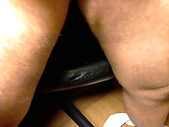 Wanking my shaved cock and cumming