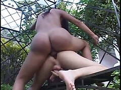 Brunette shemale fucks ass and gets ass fucked then tits jizzed