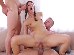 Virgin Marisa looses virginity with two guys