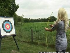 Bex, Debz And Charlotte In Strip Archery 1