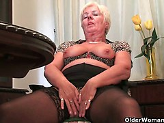 British grannies love solo sex in stockings and pantyhose