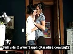 Angelic brunette lesbos kissing and having lesbo sex at the office