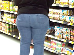 big wide country ass milf in tiht jeans.