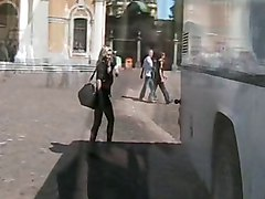 naughty in public blonde gal flashing her pussy in public