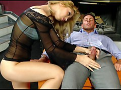 dude cums on blondes' waxed pussy lips after handjob