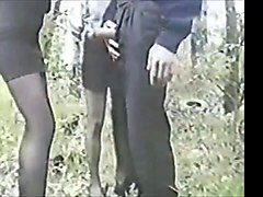 two amateurs milfs in stocking fuck lucky guy in the forest