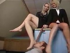 2 Brit Femdoms Trample Lucky Dog
