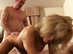 skinny granny in boots fucks a young