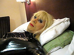 patsypvc transvestite fetish slut in shiny pvc dress..