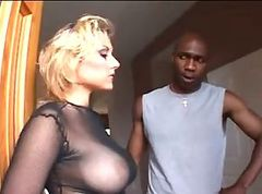 Busty girl getting black cock