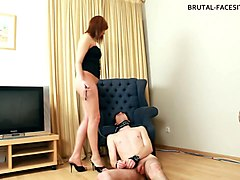 slave boy eats her pussy and makes his russian mistress cum