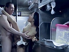 fast food seller asa akira is fucked by horny customer