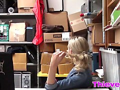 Blonde thief caught blowjob office dong