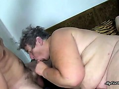two plumper grannies serve two dicks