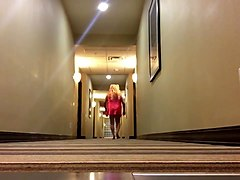 crossdresser sissy walking hotel hall and riding elevator