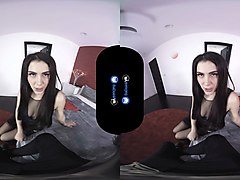 a boy wearing a vr watch his hot girl masturbate in front of him