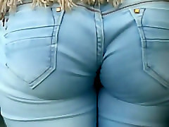 Jeans wedgie in cute girl's ass crack