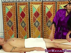 masseuse gets cum jerking massage
