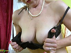 lusty mature granny solo lady is finger masturbating her wet pussy