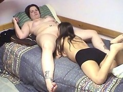 Fat Tattooed Woman Lets This Small Girls Eat Her Juicy Unwashed Twat