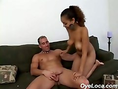 Dark Skin Latina Gets Her Trimmed Pussy Fucked Hard