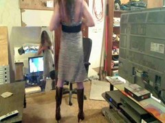 Crossdresser Dancing And Stroking Her Cock
