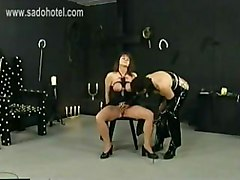 Horny Beautiful Slave With Big Boobs Tied Together Got Big Clamps With Weights On Her Pussy Lips By Latex Wearing Mistress