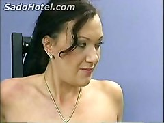 Hot Brunette Girl Tied To A Fitness Machine Got Metal Clamps On Her Pussy And Is Spanked By Her Instructor