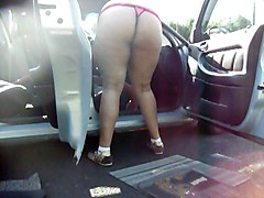 Cleaning The Car In A Thong